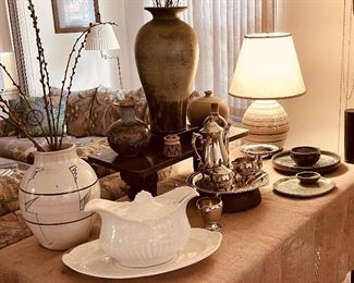"""Pottery and a large embossed white ironstone Staffordshire England soup tureen, ladle, and underplate, """"Valley Forge"""""""