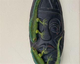 Rare Folk Art Pottery ceramic mask with ilIguana, created and signed by JORGE FRIAS OCHOA,  Tonala, Jalisco, Mexico