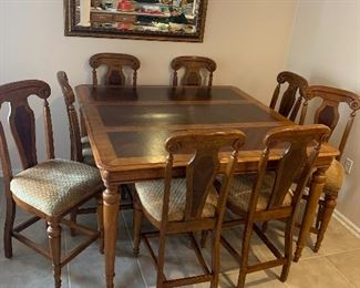 $875 ~ OBO~ WOW AMAZING LARGE TABLE, EIGHT TALL CHAIRS WITH ONE LEAF 60WX 60W X 36HT ~ LEAF 20X60