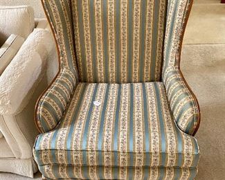 Queen Anne Wingback $250, lovely silk fabric