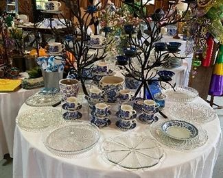 Blue and white dishes and pottery