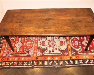"19th century reconstructed farm house table.              93 1/3 "" L   x  39 3/4 "" W x  30"" H  asking price  $2,500.       Flat weave rug under table.  1964  Kilim.  $550.00.               5ft x 11ft. These items are at the West location."