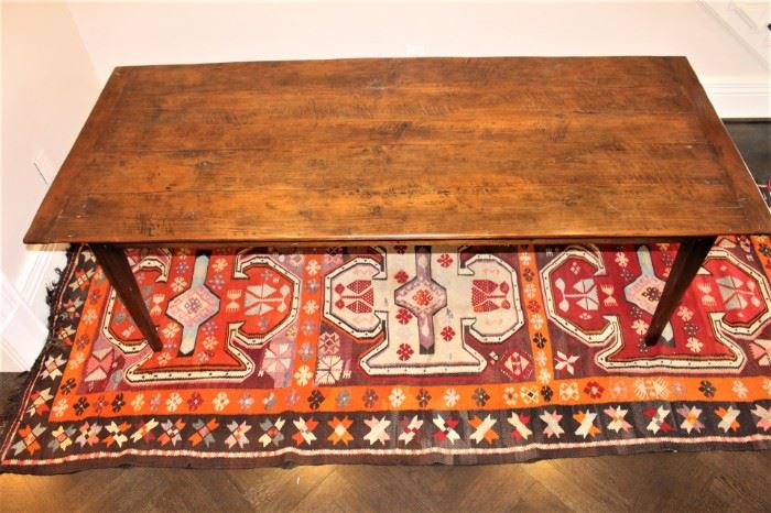 """19th century reconstructed farm house table.              93 1/3 """" L   x  39 3/4 """" W x  30"""" H  asking price  $2,500.       Flat weave rug under table.  1964  Kilim.  $550.00.               5ft x 11ft. These items are at the West location."""