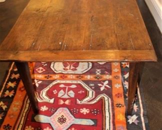 """19th century reconstructed farm house table.                   93 1/4"""" L  x 38 3/4"""" W  x 30"""" H.   $2,500.                          Flat weave rug under table.  1964  Kilim.  $550.00.             5 ft x 11 ft. These items are at the West location."""