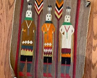 "Navaho wool wall hanging, Yeti figures in ceremonial costumes.  20.75""  x 22.5"""