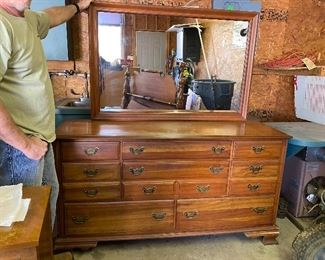 Antique dresser & mirror, has matching headboard, footboard & bedside table