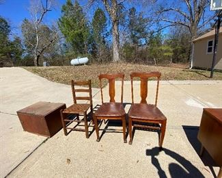 Antique wood box, chairs