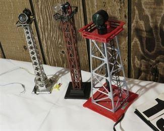 Lionel model train yard light towers