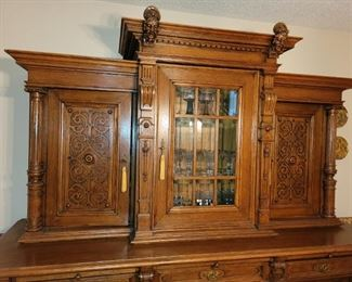 Antique buffet/ hutch. Renaissance Revival.  Possibly Scottish.  Has been refinished.. Keys held at checkout.