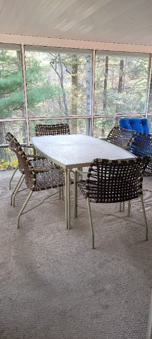 Mid-Century Tropitone table and six chairs; patio dining set