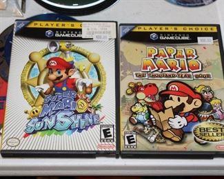 Paper Mario and Super Mario Sunshine on  Nintendo Gamecube