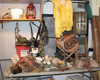 Camping gear and cuts of rope/string for every job.