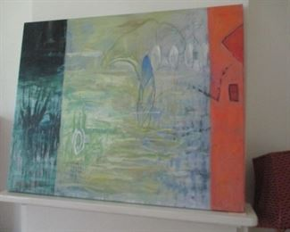 """Allison Stewart large painting, """"In Transition"""", oil on canvas. Title on verso."""