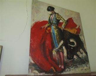 Huge Dell Weller bullfight painting
