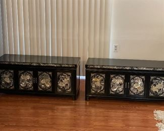 Two Amazing Korean black lacquer and mother of pearl inlayed chests in excellent condition like brand new.  Look beautiful as stackables, also willing to sell separately.$300 each.