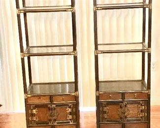 Two wood and brass bookshelves with cabinets on the bottom and brass hinges excellent condition like new  $200 each or best offer