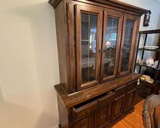 Beautiful Dark would hutch with glass display case for dishes. For drawers and cabinets underneath for storage. $200