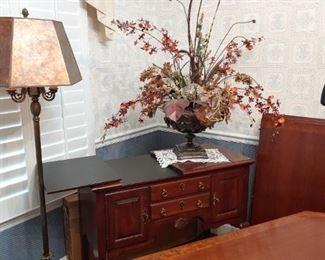 Vintage floor lamp and Pennsylvania House server