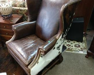 Hancock and Moore Cowhide and Leather Wingback Chair