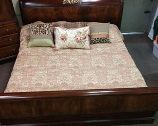 King Size Mahogany Sleigh Bed with Brass Accents