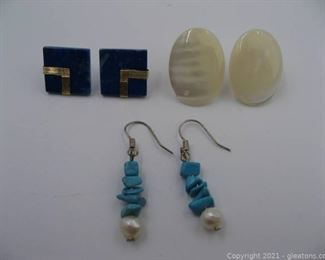 3 Pairs of Fashion Earrings Lot