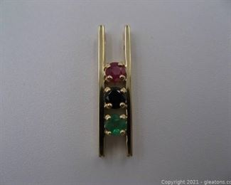 14kt Yellow Gold Ruby Sapphire and Emerald Pemdant