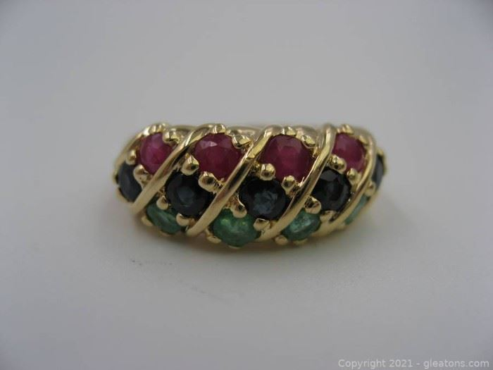 14kt Yellow Gold Ruby Sapphire and Emerald Ring