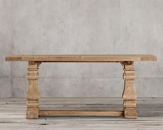 """Restoration Hardware Salvaged Wood Trestle Console table 70"""" w x 18""""d x 30.5""""h. Retails for $2650.   $960 still sells online at Restoration Hardware - here is without freight or tax!"""