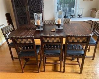 """Lovely antique dining table and 8 chairs  $460. leather is black not green as this photo makes them appear.  table is 40"""" w x 30"""" h x86""""l  as shown with two of the three leaves   Lovely antique dining table and 8 chairs $460. leather is black not green as this photo makes them appear. table is 40"""" w x 30"""" h x86""""l q'as shown with two of the three leaves Buytable top close uptable top close up Buydetail of basedetail of base Buyclose up of the chairsclose up of the chairs BuyKelly Wearstler sconces 300Kelly Wearstler sconces 300 BuyA beautiful rug .  rench Aubusson that measures 11' 8"""" x 18'.  Can be cut to a smaller size by Pande Cameron.  Hand knotted  3000 or best offer A beautiful rug . rench Aubusson that measures 11' 8"""" x 18'. Can be cut to a smaller size by Pande Cameron. Hand knotted 3000 or best offer BuyEthan Allen pedestal base round table with six custom upholstered chairs. Table is 60"""" diameter X 30""""h. Originally $5000. $800Ethan Allen pedestal base round table with six cus"""