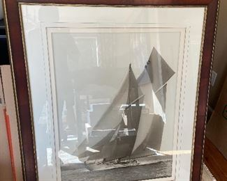 Large framed photo of a sailing ship at Cowes.  Originally purchased at Ethan Allen for $450 each asking. $400 for the pair.  Second is shown in the next photo