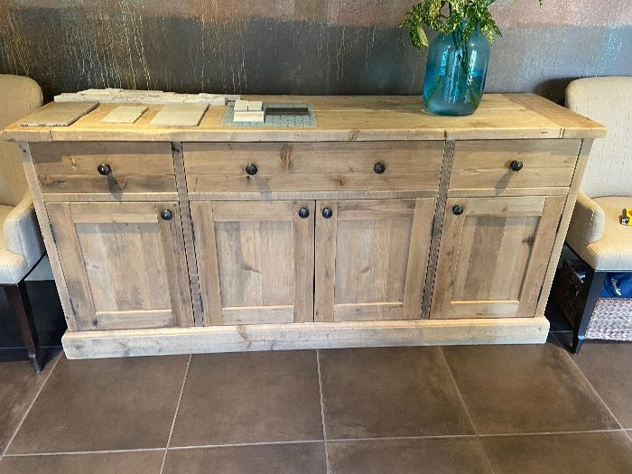 """Restoration Hardware Salvaged Wood Panel Sideboard.  Originally retailed for $3200 asking $2100, no freight or tax!  Still available t Restoration Hardware. 76""""w x 21""""d x 36""""h"""