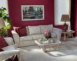 Sofas, coffee table and side tables