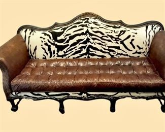 Faux zebra skin and leather sofa