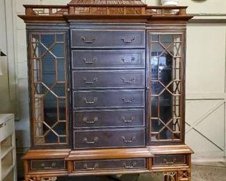 Gorgeous 3 piece pagoda top Maitland Smith Cabinet