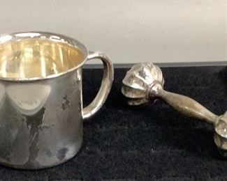 STERLING BABY CUP AND RATTLE