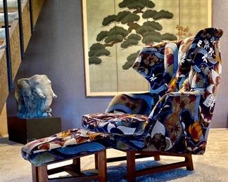 1950's Janus Wing Chair and ottoman by Edward Wormley for Dunbar Fabric: Jack Lenor Larsen