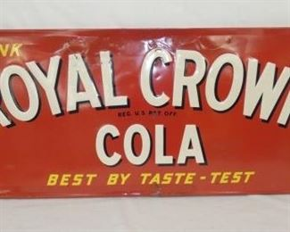 54X18 1952 EMB. ROYAL CROWN COLA SIGN