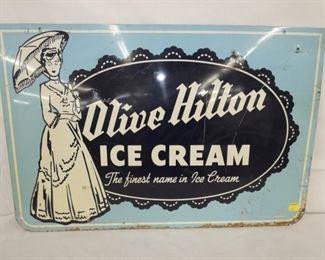 36X24 OLIVE HILTON ICE CREAM SIGN