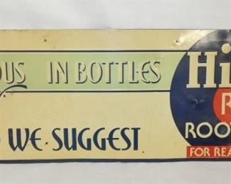 28X10 EMB. HIRES JF ROOT BEER SIGN