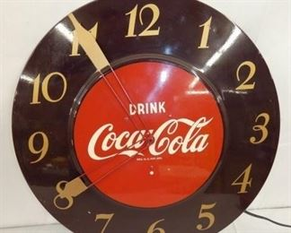 18IN COCA COLA BROWN CLOCK