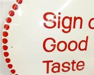 27IN SELF FRAMED GOOD TASTE COKE SIGN