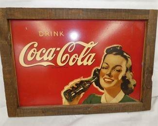 30X21 COKE MASONITE FRAMED SIGN