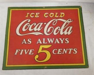 15X12 COKE 5CENTS CARDBOARD SIGN