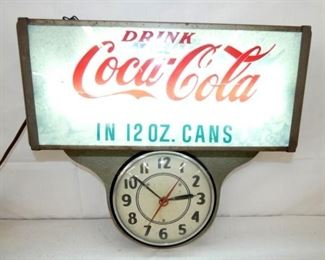 18X18 LIGHTED COKE 12OZ CANS CLOCK