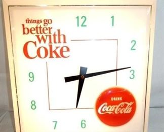 17X17 COKE PLASTIC ADV. CLOCK