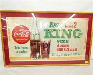 40X24 1958 FRAMED COKE KING SIZE AD