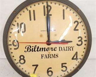 17IN BILTMORE DAIRY FARMS CLOCK