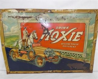 27X19 EMB. EARLY 1900'S MOXIE SIGN