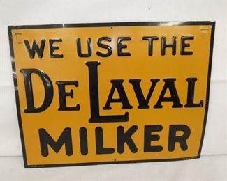 16X12 EMB. 1929 DELAVAL MILKER SIGN
