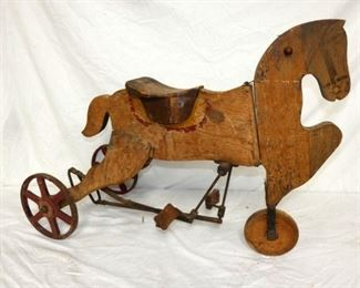 EARLY WOODEN HORSE TRICYCLE